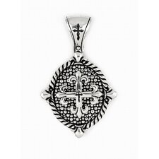 Twisted Blade Silver Oval Fleur De Lis Cross Pendant