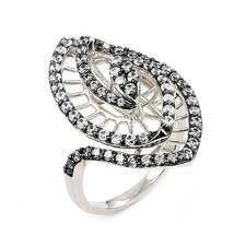 Ferroni Sterling Silver Swarovski Elements Zirconia Marquise Ring