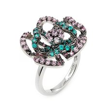 <strong>Plutus Partners</strong> Ferroni Sterling Silver Swarovski Elements Zirconia Flower Ring