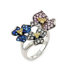 Ferroni Sterling Silver Swarovski Elements Zirconia Flower Ring