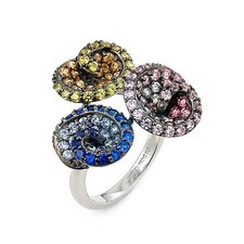Ferroni Sterling Silver Swarovski Elements Zirconia Triple Swirl Ring