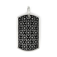 Twisted Blade Silver Antique Floral Pattern Dog Tag Pendant