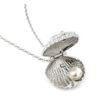 Sterling Silver Seashell Cubic Zirconia and Freshwater Cultured Pearl Locket