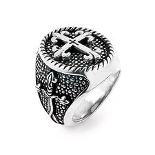 Twisted Blade Silver Round Fleur De Lis with Thin Cross Ring