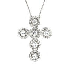 <strong>Plutus Partners</strong> Sterling Silver Cubic Zirconia Rounded Cross Necklace