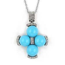Sterling Silver Ball Cross Cubic Zirconia Necklace