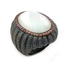 Signature Authentico Sterling Silver Mother Of Pearl Oval Faceted Demiquartz Doublet and Dignity Cubic Zirconia Ring