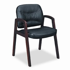 VL800 Series Leather Guest Chair with Wood Arms