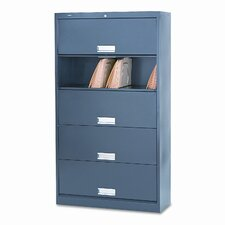 600 Series 5-Shelf Steel Receding Door File, Ltr, 36w x 13-3/4d x 76h, Charcoal