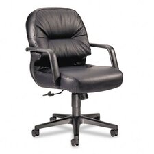 Mid-Back Leather Swivel / Tilt Office Chair with Arms