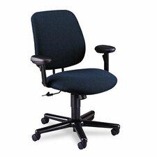 24-Hour Task Series Swivel/Tilt Chair with Adjustable Arms, Blue Olefin