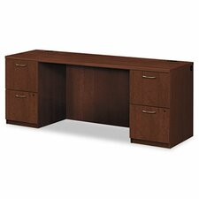 Park Avenue Laminate Credenza Desk with Double Pedestal