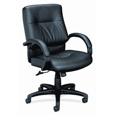 <strong>HON</strong> Mid-Back Leather Executive Chair with Arms
