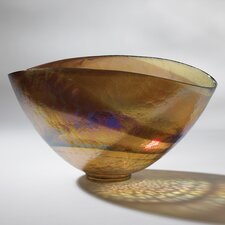 Golden Large Iridescent Oval Bowl