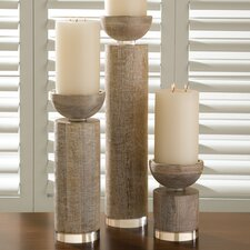Scratched Pillar Candle Holder