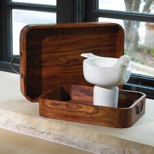 2 Piece Wood and Iron Trays Set