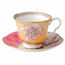 Harlequin Butterfly Bloom Floral Bouquet Cup and Saucer (Set of 2)