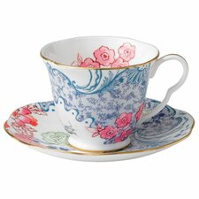 Harlequin Butterfly Bloom Blue Peony Cup and Saucer (Set of 2)