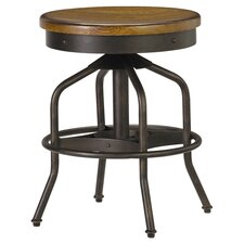 Adjustable Swivel Factory Stool in Hickory