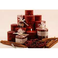 Cinnamon Cranberry Scented Pillar Candles (Set of 3)