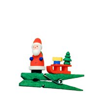 Santa with Sled on Green Clip