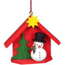 House with Snowman Ornament