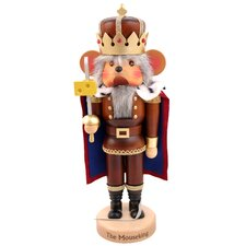 Natural Wood Finish Mouse King with Cheese Nutcracker