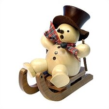 <strong>Christian Ulbricht</strong> Natural Wood Finish Snowman on Sled Incense Burner
