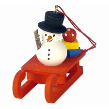 Snowman on Sled Ornament