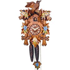 Cuckoo Clock with Blue Flowers and Walnut Finish