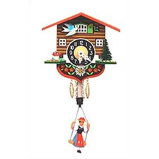"Chalet Carved 4"" Clock with Swinging Girl"