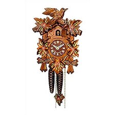 Cuckoo Clock with Red Flowers and Walnut Finish