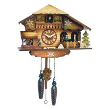 Chalet Clock with Dancer and Water Wheel
