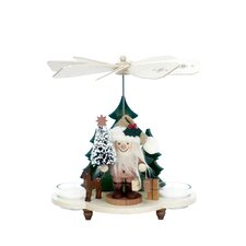 Ulbricht / Seiffener Nussknacker Santa with Tree Pyramid Nutcracker in Natural Wood