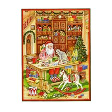 Santa in Workshop Advent Card