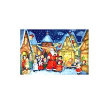 Santa With Children Advent Card