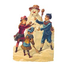 Die Cut and Embossed Standing Card with Snowman Design