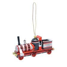 Black and Red Tin Locomotive Ornament