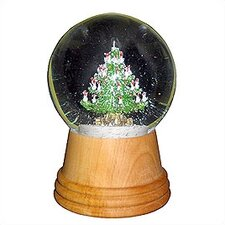 Christmas Tree Snow Globe with Wooden Base