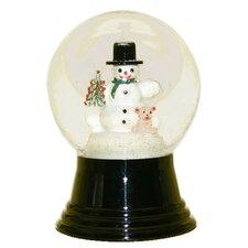 Snowglobe with Snowman Holding Teddy Bear Inside