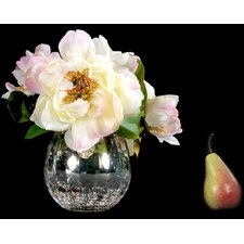 Cream Peonies in Accent Mercury Bowl