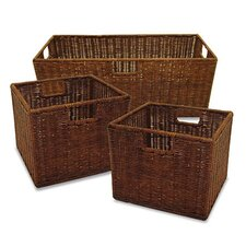 3 Piece Walnut Storage Basket Set