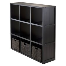 Timothy 3 x 3 Cube Shelf with Baskets and Wainscoting Panel