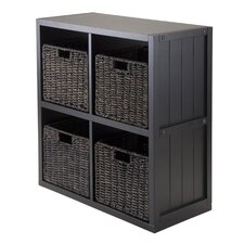 Timothy 2 x 2 Cube Shelf with Baskets and Wainscoting Panel
