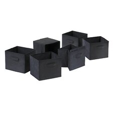 Capri Foldable Fabric Storage Basket in Black (Set of 6)