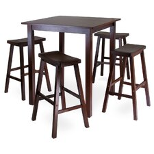 <strong>Winsome</strong> Parkland 5 Piece High Pub Table with 4 Saddle Seat Stools