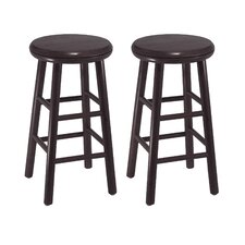 "Espresso 24"" Swivel Bar Stool (Set of 2)"