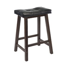 "Mona 24"" Saddle Seat Stool with Cushion in Antique Walnut"