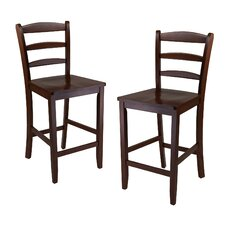 "Antique Walnut 24"" Bar Stool (Set of 2)"