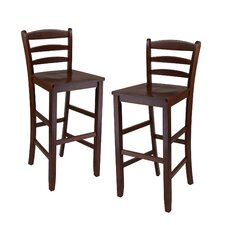 "Ladder Back 30"" High Chair in Antique Walnut (Set of 2)"
